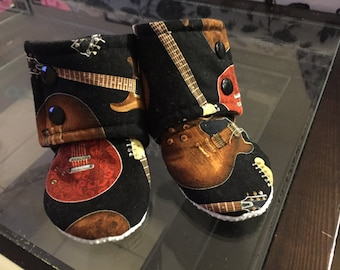 Black Electric Guitars Stay-On Booties (Newborn, Infant, Toddler)