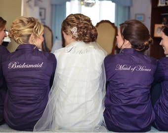 Wedding Day Bridal Party Button Down Shirts. Hair and Makeup won't get ruined.