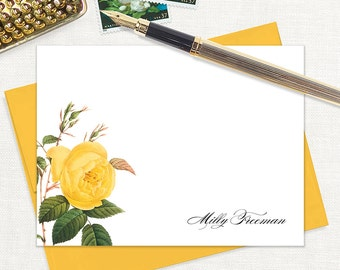 personalized flat note cards - YELLOW ROSE - set of 12 cards - stationery - stationary - botanical - floral - flower - gold envelopes