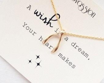 Wishbone Necklace, tiny wishbone necklace, small wishbone necklace, dainty wishbone necklace, silver, gold, wishbone, quote, necklace
