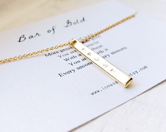 Personalized Vertical Bar Necklace Canada