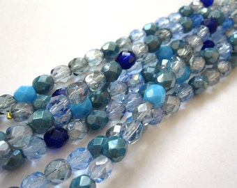 1 strand 4mm - blue mix Czech glass beads