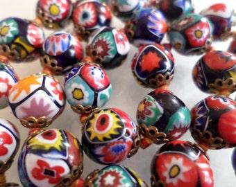 Lot of 30 Old Vintage Millefiori Venetian Glass Beads.