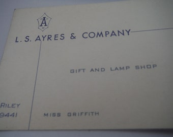 Vintage 1950's LS Ayres departmental business card-collectible-rare-excellent condition