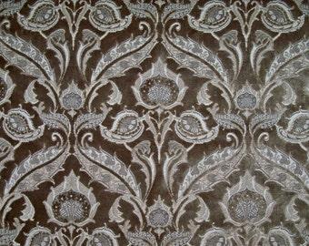 DESIGNER ART NOUVEAU Deco Fleur Medallions Cut Velvet Fabric 5 Yards