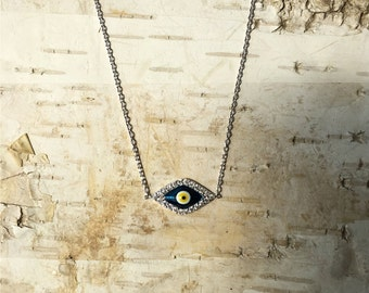 Blue Evil Eye Necklace on Silver Chain