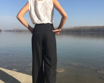 Black Palazzo Pants, Suit Pants, Formal Pants, Wide Leg Trousers, Black Trousers, High-Wasted Pants, Wide Trousers, Womens Pants