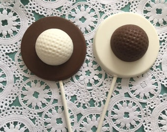 GOLF BALL ChocolateLollipops(12 qty) Golf Balls/Golf Birthday Party/Sports Party/Golf Party/Birthday Party/Father's Day/Miniature Golf/Golf