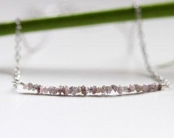 Rough Pink Diamond Necklace, 1.03 Ct Genuine Natural Raw Diamond Bar, 925 Sterling Silver, Real Rough Diamond Jewellery, April Birthstone