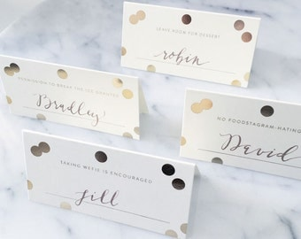 Modern Place Cards | DIY PLACE CARDS | Chic Place Cards | Gold Foil Place Cards | Wedding Place Cards |Cute Place Cards |Stylish Place Cards