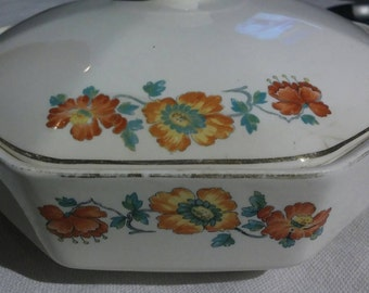 1917 home laughlin 10 inch 8 sided serving dish with 2 handles and lid print 67n5 country floral design with gold trim