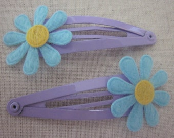 Set of 2 Blue and Purple Daisy Snap Clips for Baby Girl, Toddler, Girl, Gift, Non Slip Grip, Ready to Ship