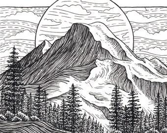 Mt Baker 5x5 Print - Mountain Art Giclee Print