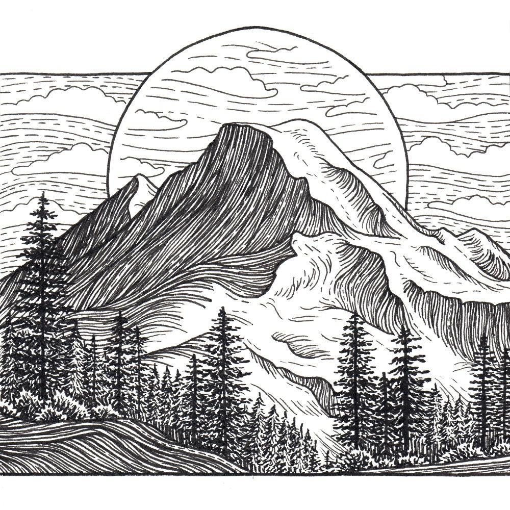 This is a graphic of Priceless Mt Rainier Drawing
