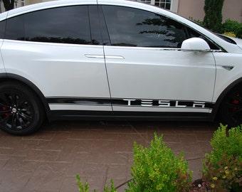 Tesla Model X Side Banner Stripe Graphics (set)
