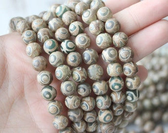 Tibetan Agate 8mm Round AA quality - Rustic Style Boho Chic Natural Gemstone Beads