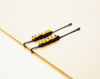 Blue & Gold Bobby Pins