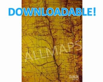 Downloadable Dublin OHIO 1903, Vintage Old map, Downloadable Print,Map Wall Art, Printable Art, Man cave Decor, Printable