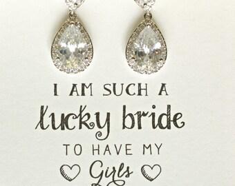 Set of 8 Crystal Dangle Earrings, Crystal Teardrop Earrings, Crystal Wedding Earrings, Silver Dangle Earrings, Bridesmaid Earrings, ES8
