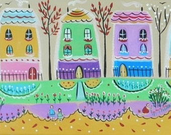 Original painting on canvas, whimsical art,naive art,folk art,titled Paintbox Houses by Claire Barone,home lover