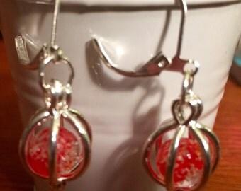 Red glow in the dark beaded earrings