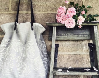 Linen tote bag - handprinted - Fern
