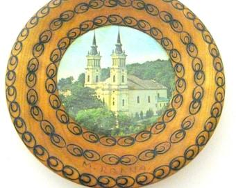 Rumänische teller CATHEDRAL Souvenier Traditionelle  holztafel wanddekor wandteller Romania Tray Rumänische Kunst Mama Geschenk Vintage