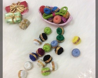 Sinny's hand made Doll house Miniature yarns. (Package of 4) hand made