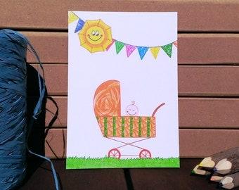 Card Pram - A6 Postcard - Blank Card - Birth Card - Card Recycled Paper.