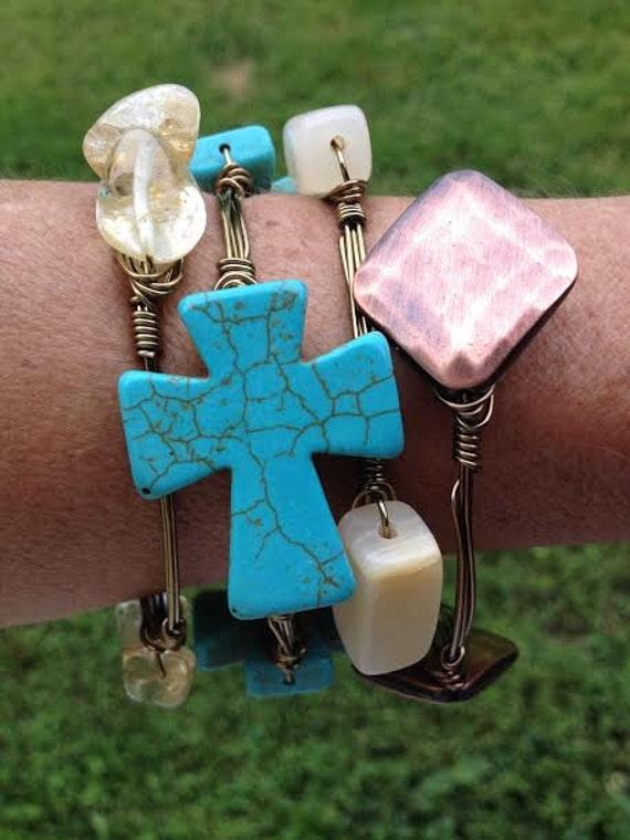 Turquoise Cross Bangle, Cross Bangle Bracelet, Wire wrapped bangle, Handmade jewelry