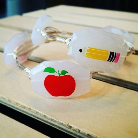 SALE, Teacher Bangle Bracelet, Apple Bangle Bracelet, Pencil Bangle Bracelet,Wire wrapped bangle