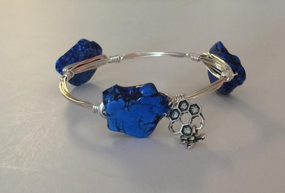 Blue Bangle Bracelet, UK bangle bracelet, Kentucky bangle bracelet, Wire wrapped bangle bracelet, slab bangle, chunky bangle bracelet