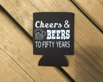 "Birthday ""Cheers and Beers"" Can Cooler"