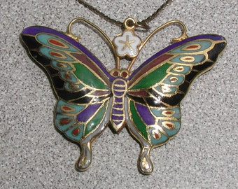Large Beautiful Vintage Chinese Enamel on Copper Butterfly Pendant Necklace