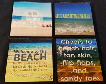 Beach Lovers Ceramic Tile Coasters / Beach Lovers Coaster / Set Of 4 / Beach Quotes Coasters