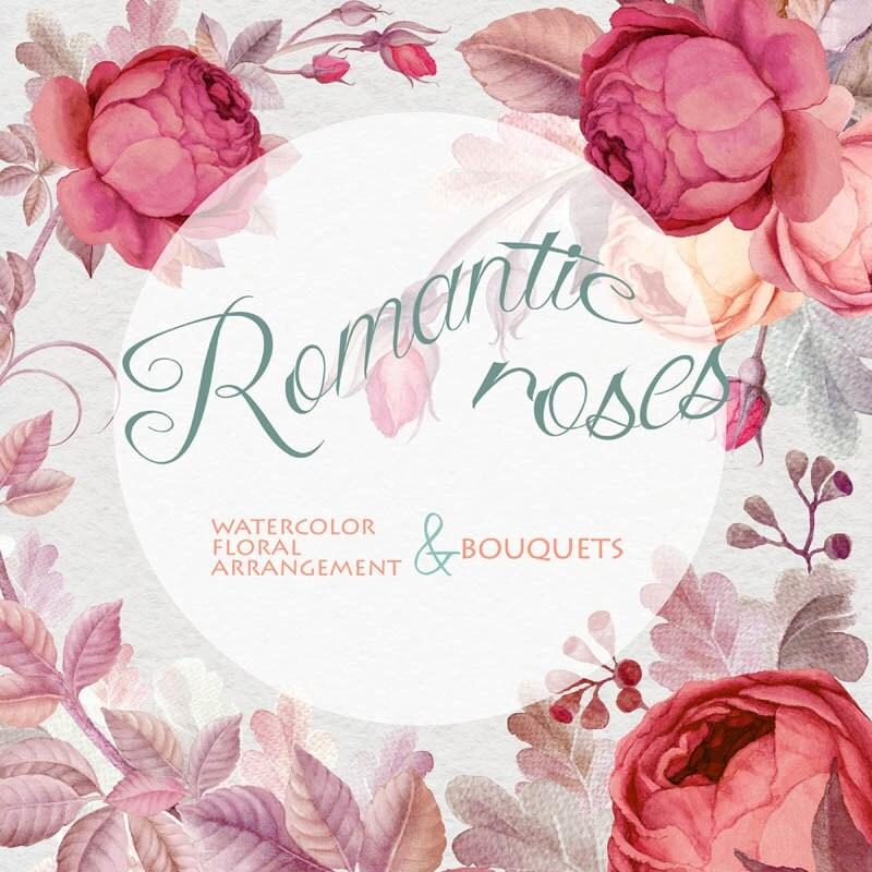 Flower Clipart Watercolor Marsala Color Roses Romantik rose