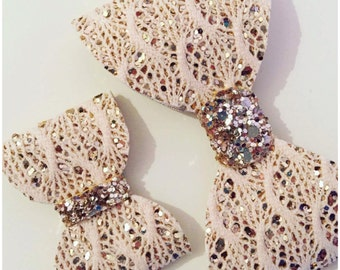 Lace Bows with Glitter Middle