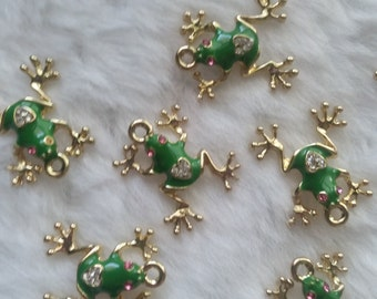Gold Enamel Frog Charm - Package of 10