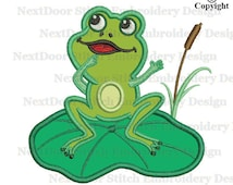 Frog embroidery design, cute animal sea life lotus lake embroidery applique file download, frog-005