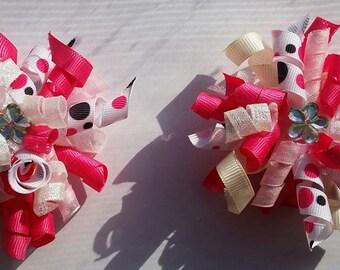 Flower Pom poms Hairbows
