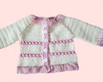 Crochet girl sweater, handmade sweater, girl sweater 12 mo, white pink sweater, baby girl birthday, photo prop, fur trim sweater, sweater 12