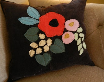 Poppies Accent pillow upcycled corduroy applique