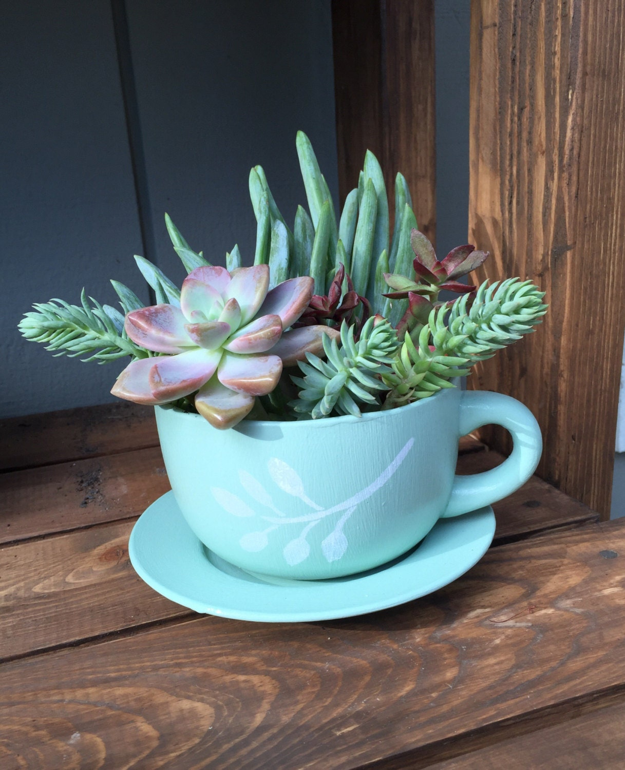 Custom Ceramic Tea Cup And Saucer Planter With Stenciled