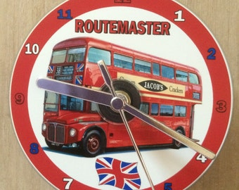 Red Routemaster London Double Decker Bus Cd Clock (Can be Personalised)