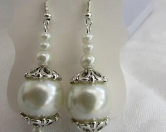 Chunky glass pearl earrings
