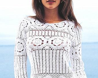 Crochet top PATTERN, crochet sweater PATTERN, detailed instructions in ENGLISH, trendy crochet top pattern, designer  pattern