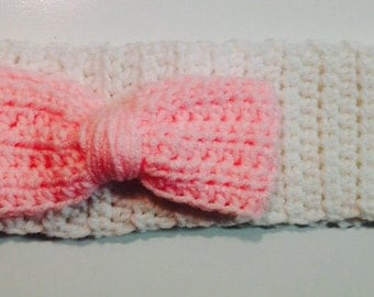 White headband with Pink Bow