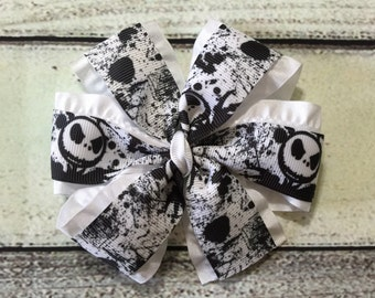 Halloween Hair Bow Jack Skellington Boutique Hair Bow Pinwheel Hair Bow Girl Hair Clip Girls Hair Bow Nightmare Before Christmas Hair Bow