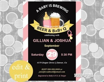 Beer n BBQ Baby Shower Invite |Beer & Baby Q Shower Invitation,Girl Coed Baby Shower, bbq Baby Shower, Couples Shower,  INSTANT DOWNLOAD