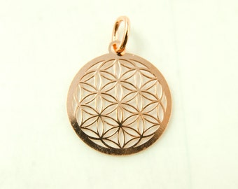 Flower of life in Sterling silver 925/- rosegold pl. art.3140